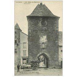 carte postale ancienne 12 MUR-DE-BARREZ. Vieille Tour 1922 attelage de Boeufs