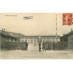 carte postale ancienne 54 TOUL. 156° d'Infanterie Entrée Nouveau Casernement aéroplane 1914