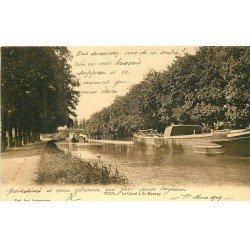 carte postale ancienne 54 TOUL. Canal à Saint-Mansuy 1904 Péniches