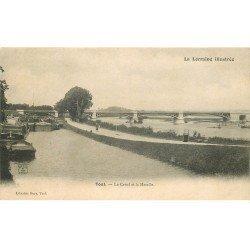 carte postale ancienne 54 TOUL. Canal et Moselle Péniches