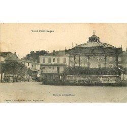 carte postale ancienne 54 TOUL. Place de la République Kiosque à musiques 1915