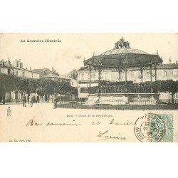 carte postale ancienne 54 TOUL. Place de la République Kiosque à musiques 1903