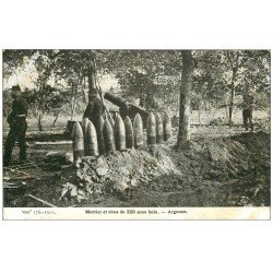 carte postale ancienne 55 ARGONNE. Mortier et Obus de 220 sous bois 1915
