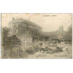 carte postale ancienne 55 AUZEVILLE. Militaire pêchant près du Moulin 1917. Dans l'état...