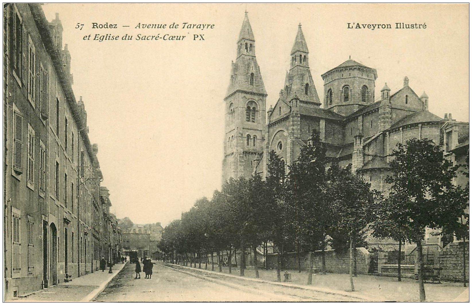 carte postale ancienne 12 RODEZ. Eglise du Sacré-Coeur Avenue de Tarayre