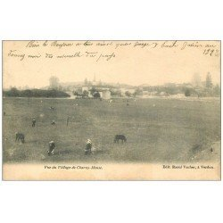 carte postale ancienne 55 CHARNY-MEUSE. Village et Vaches 1904