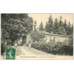 carte postale ancienne 55 CLERMONT-EN-ARGONNE. Chapelle de Sainte-Anne animée 1908