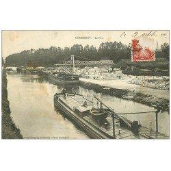 carte postale ancienne 55 COMMERCY. Le Port 1909 avec Péniches et Grue