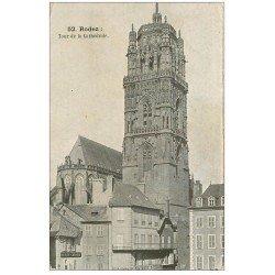 carte postale ancienne 12 RODEZ. La Cathédrale Notre-Dame. La Tour et Pharmacie Bousquet
