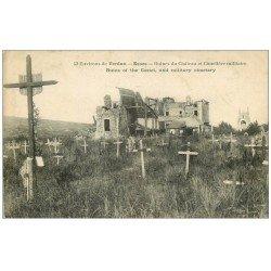 carte postale ancienne 55 ESNES. Ruines Château et Cimetière