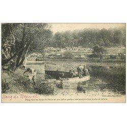 carte postale ancienne 55 ETANG DE RONVAL. Les Poilus font lessive et toilette. Apremont la Forêt