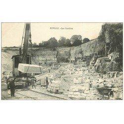 carte postale ancienne 55 EUVILLE. Les Carrières des Lentilles de Calcaire. Grue et Ouvriers Carriers