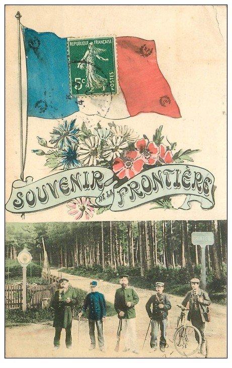 carte postale ancienne 55 FRONTIERE. Douane et Douaniers Français et Allemands 1909 Drapeau tricolore