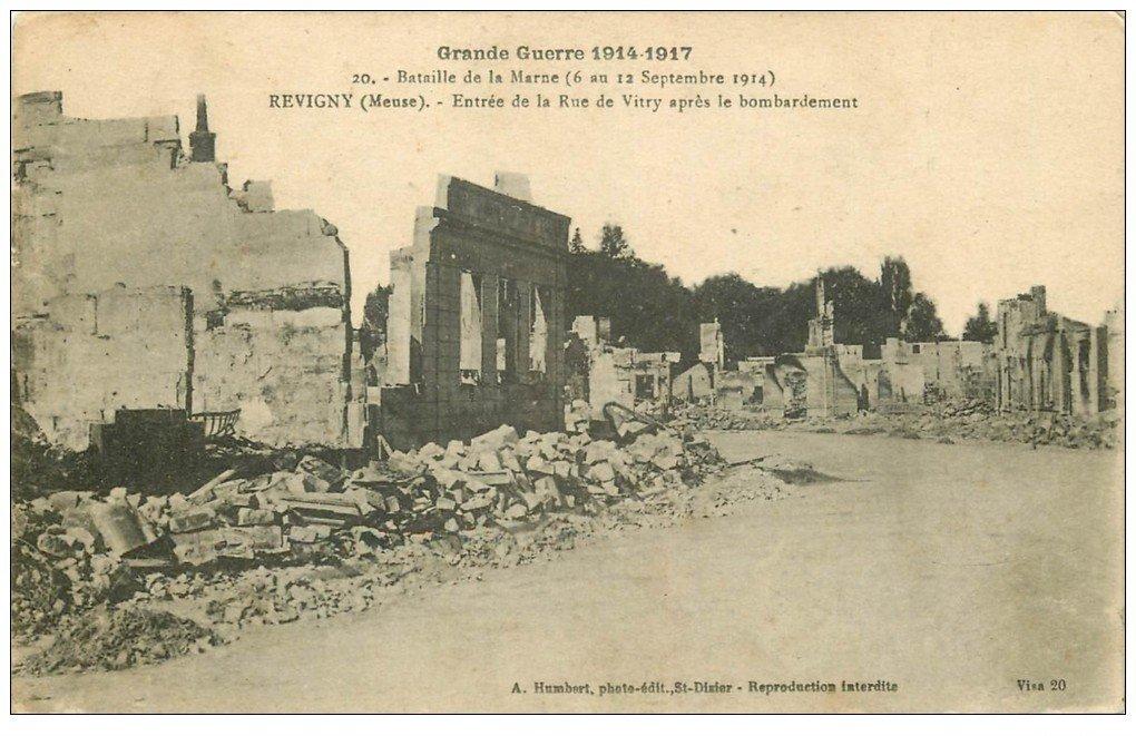 carte postale ancienne 55 REVIGNY. Entrée Rue de Vitry 1917