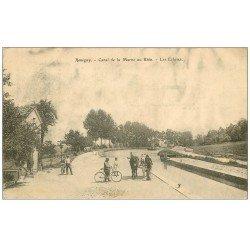 carte postale ancienne 55 REVIGNY. Péniches et Ecluses Canal de la Marne au Rhin