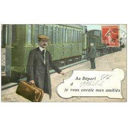 carte postale ancienne 55 SAINT-MIHIEL. Carte montage Train en Gare et Voyageur
