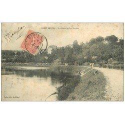 carte postale ancienne 55 SAINT-MIHIEL. Meuse et Roches 1905 Pêcheurs à la ligne
