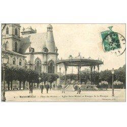 carte postale ancienne 55 SAINT-MIHIEL. Place des Moines Kiosque de la Musique 1911