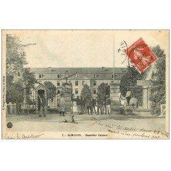 carte postale ancienne 55 SAINT-MIHIEL. Quartier Coison 1912 Militaires et Cavalier