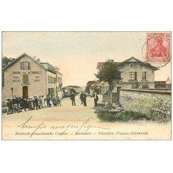 carte postale ancienne 57 AVRICOURT. Frontière Franco-Allemande 1907. Epicerie Benzine pour Automobiles