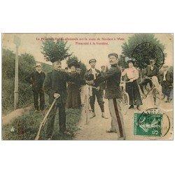 carte postale ancienne 57 NOVEANT à METZ. La Frontière sur la Route 1909