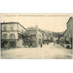 carte postale ancienne 12 VILLEFRANCHE-DE-ROUERGUE. Avenue Saint-Gilles. Pneus Continental