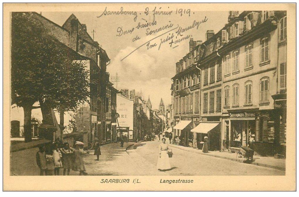 carte postale ancienne 57 SARREBOURG SAARBURG. Langestrasse 1919