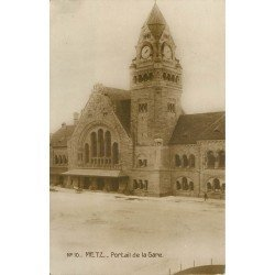 carte postale ancienne 57 METZ. La Gare Portail 1919