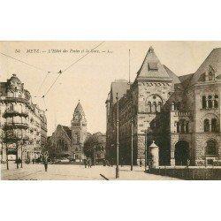 carte postale ancienne 57 METZ. Hôtel des Postes et Gare