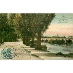 carte postale ancienne 57 METZ. Île du Saulcy et Pont des Morts 1910