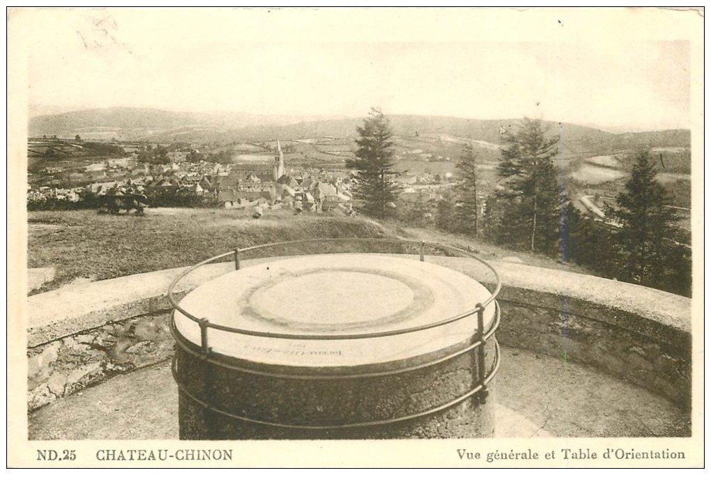 carte postale ancienne 58 CHATEAU-CHINON. La Table d'Orientation