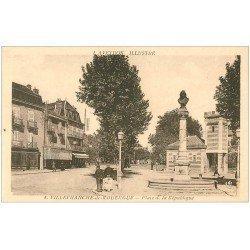 carte postale ancienne 12 VILLEFRANCHE-DE-ROUERGUE. Place de la République