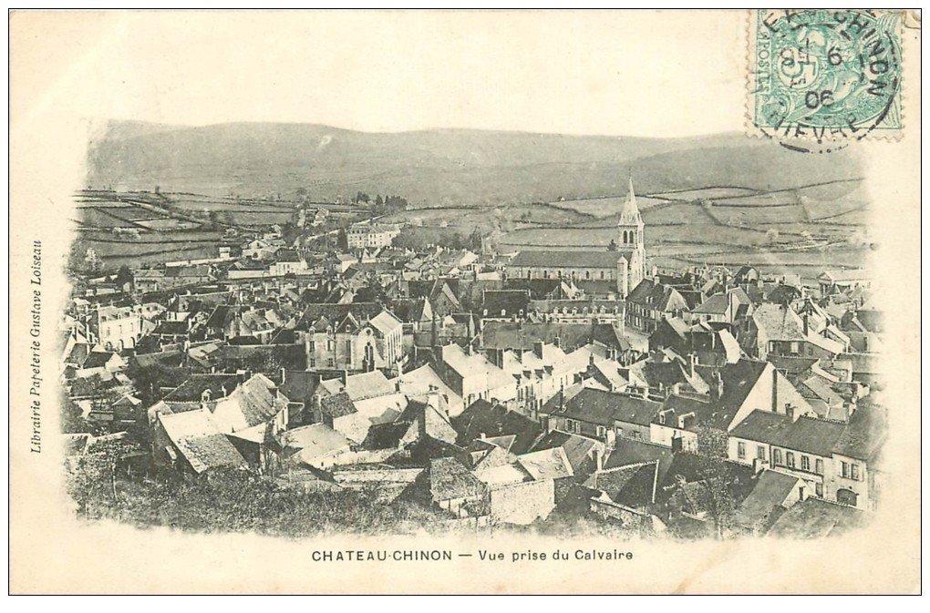 carte postale ancienne 58 CHATEAU-CHINON. Vue prise du Calvaire 1906