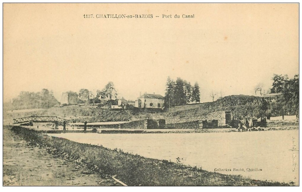 carte postale ancienne 58 CHATILLON-EN-BAZOIS. Port du Canal