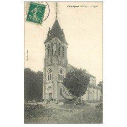 carte postale ancienne 58 CHAULGNES. L'Eglise et Ouvriers 1910