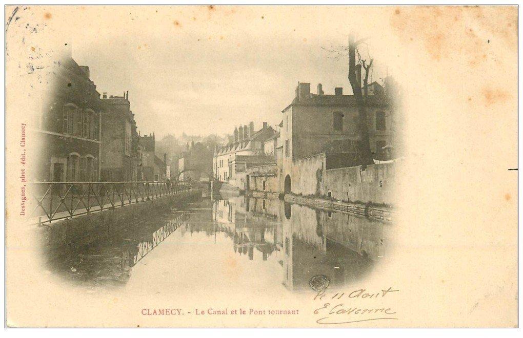 carte postale ancienne 58 CLAMECY. Canal et Pont Tournant 1904