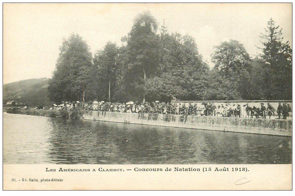 carte postale ancienne 58 CLAMECY. Concours de Natation en 1918 avec les Américains