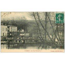 carte postale ancienne 58 CLAMECY. Les Ponts Verts 1910