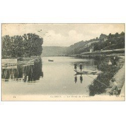 carte postale ancienne 58 CLAMECY. Pêcheur Bords de l'Yonne 1917