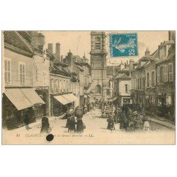 carte postale ancienne 58 CLAMECY. Place du Grand Marché 1921 Pharmacie Pilgrain