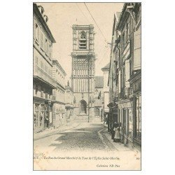 carte postale ancienne 58 CLAMECY. Rue du Grand Marché Tour Eglise Saint-Martin. Magasin Bonnieux