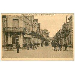 carte postale ancienne 58 COSNE-SUR-LOIRE. Café Agriculture Avenue du 14 Juillet