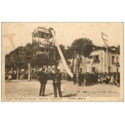 carte postale ancienne 58 COSNE-SUR-LOIRE. Exercices de Sauvetage. Congrès des Sapeurs Pompiers 1938