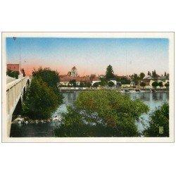 carte postale ancienne 58 COSNE-SUR-LOIRE. La Loire vers Saint-Jacques. Carte Photo