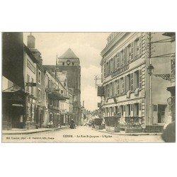 carte postale ancienne 58 COSNE-SUR-LOIRE. La Rue Saint-Jacques 1910 Nouvel Hôtel