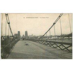 carte postale ancienne 58 COSNE-SUR-LOIRE. Le Grand Pont 1915