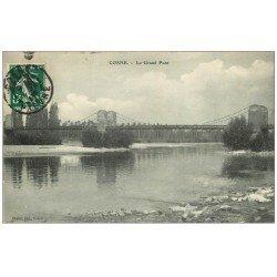 carte postale ancienne 58 COSNE-SUR-LOIRE. Le Grand Pont 1918