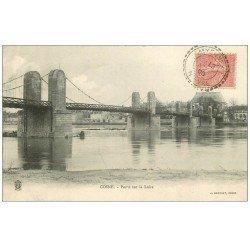 carte postale ancienne 58 COSNE-SUR-LOIRE. Ponts sur la Loire 1905
