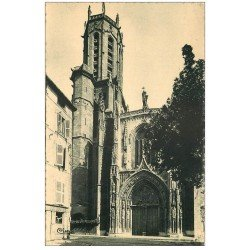 carte postale ancienne 13 AIX-EN-PROVENCE. Basilique Métropolitaine Saint-Sauveur 1946. Coiffeur