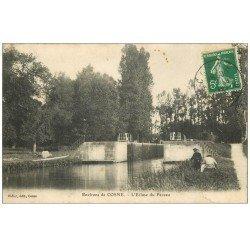 carte postale ancienne 58 ECLUSE DU PEZEAU. Pêcheurs 1913